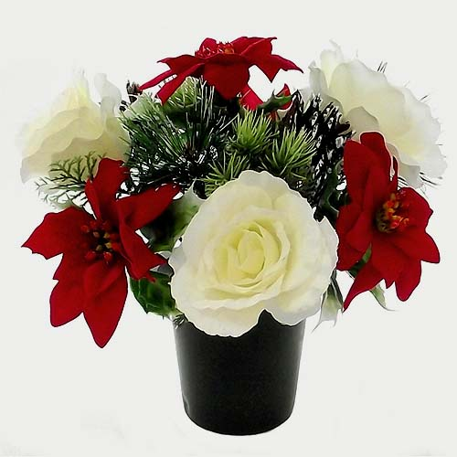 Riven Signs Christmas Cemetary Grave Pot Flower Arrangement Red White